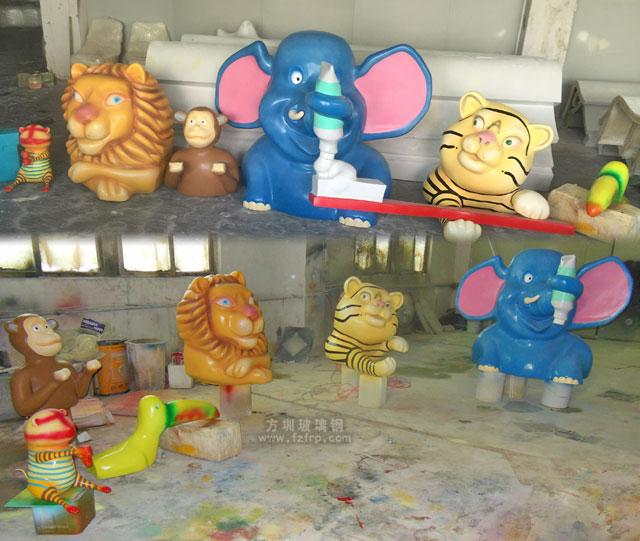 汕尾大厦玻璃钢卡通门头雕塑装饰工厂生产图
