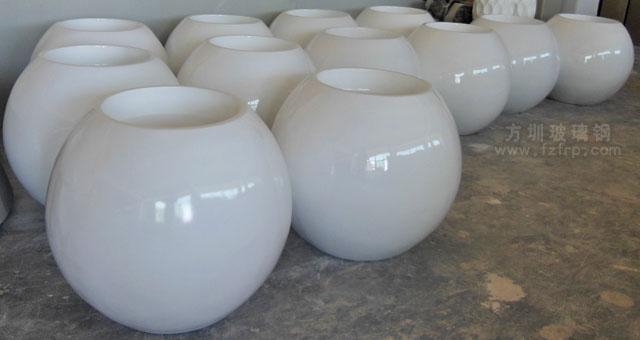 湖南商场圆形玻璃钢花盆成品展示