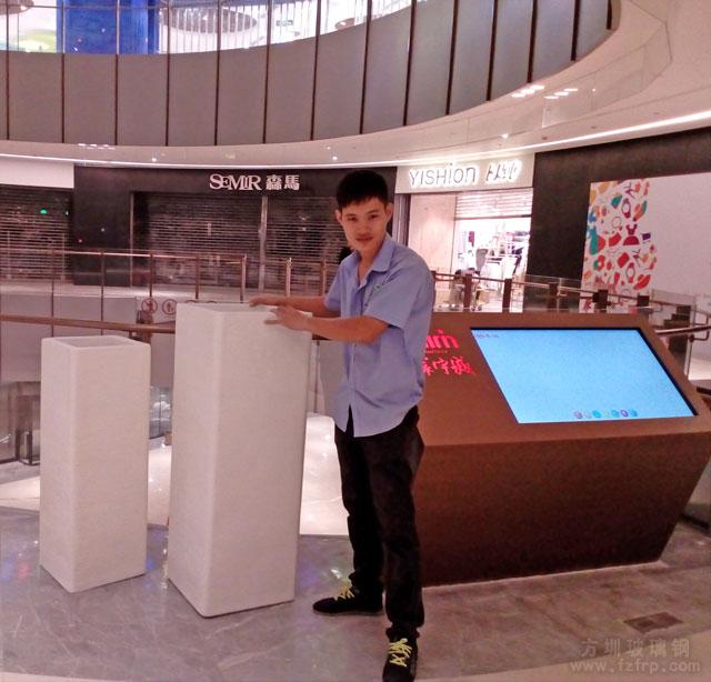 佛山大型购物中心艺术玻璃钢花缸方圳送货摆放图