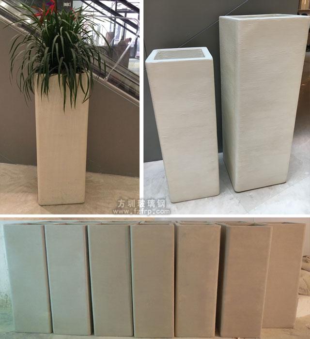 佛山大型购物中心艺术玻璃钢花缸工厂生产图