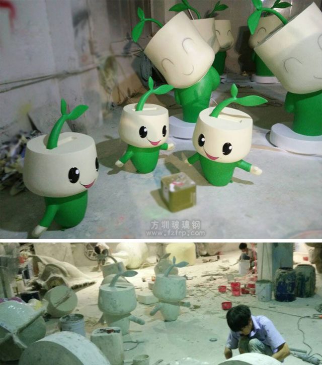 深圳双创周玻璃钢形象公仔工厂生产图