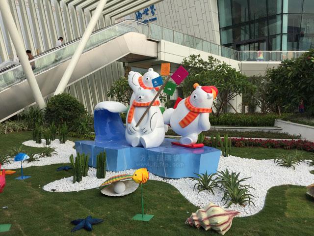 巽寮湾海世界玻璃钢北极熊雕塑