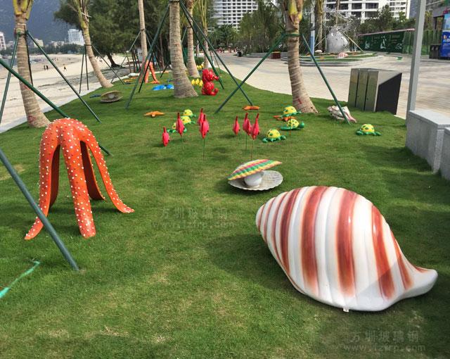 惠州金融街巽寮湾玻璃钢海螺海星组合雕塑户外摆放图