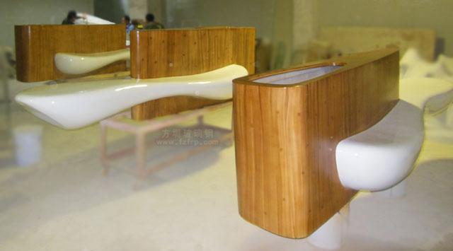 玻璃钢座椅带仿木纹花盆方圳工厂生产图