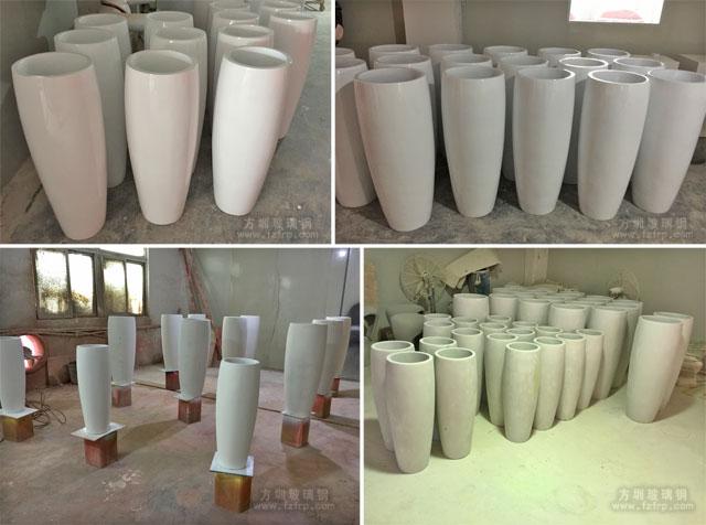 银川新华联购物中心玻璃钢花瓶方圳工厂生产图