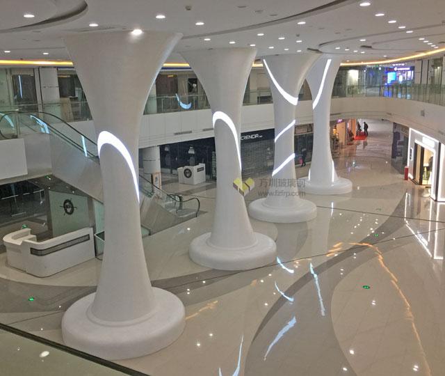 大型玻璃钢装饰柱带坐凳底座
