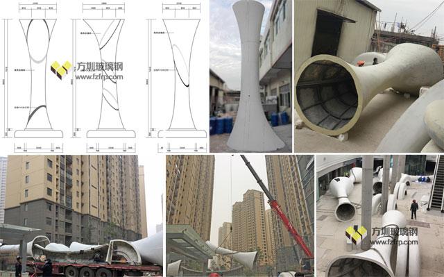 大型玻璃钢装饰柱带坐凳底座方圳工厂设计生产运输吊装图