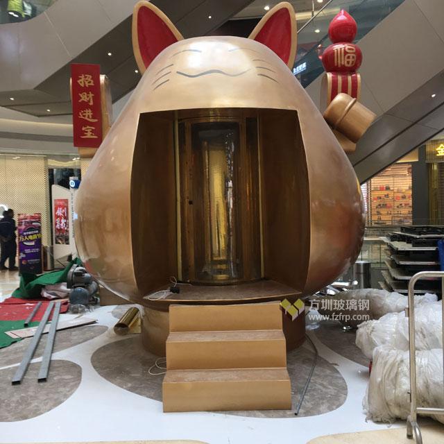 方圳大型玻璃钢招财猫雕塑运送银川新华联商场图