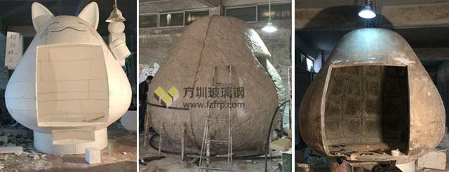 银川新华联商场大型玻璃钢招财猫雕塑方圳工厂生产图