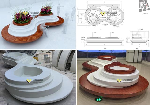 江西南昌商场方圳玻璃钢创意花盆座椅生产设计图
