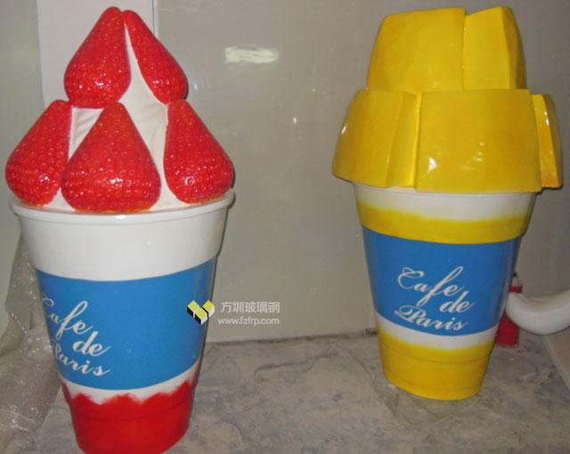 山东玻璃钢草莓芒果杯冰激凌雕塑