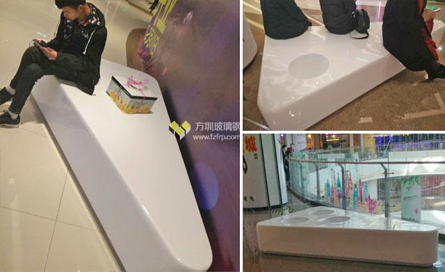 郑州龙湖华南城玻璃钢花盆座椅商场摆放图