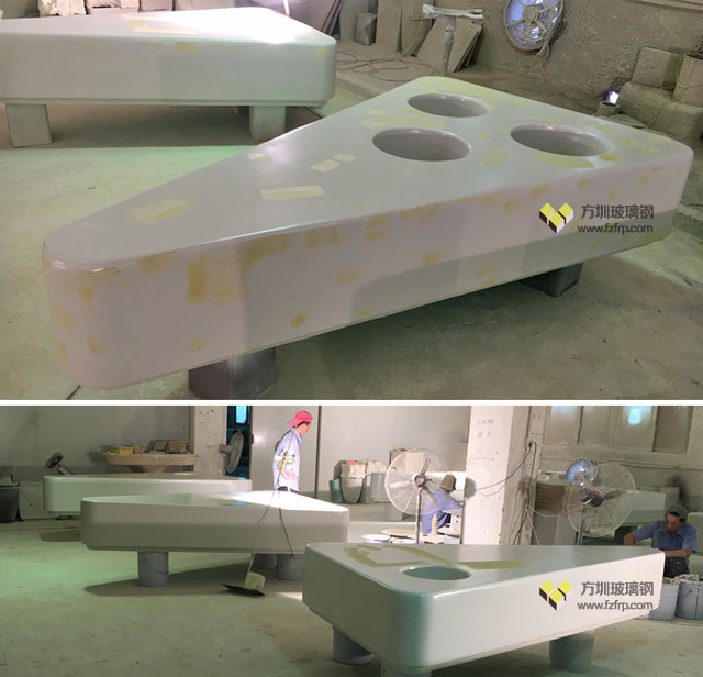 郑州龙湖华南城玻璃钢花盆座椅工厂生产图