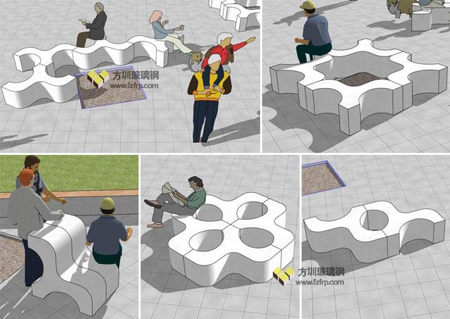 盐田幼儿园创意定制玻璃钢小马组合凳设计效果图