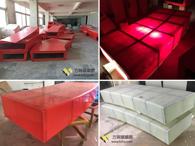 贵阳花溪公园定制150米弧形玻璃钢休闲椅方圳工厂生产图