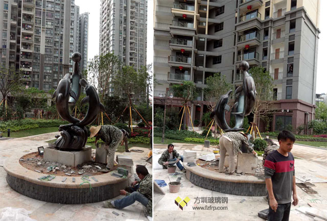 深圳布吉小区玻璃钢海豚组合雕塑