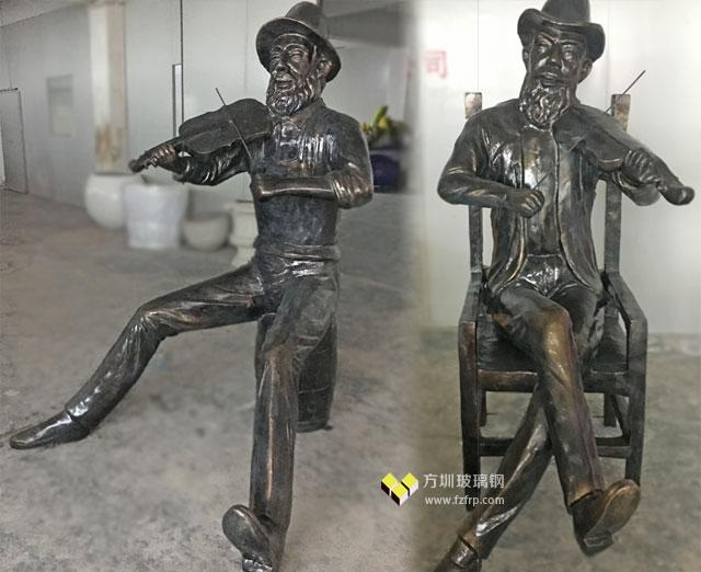 长春新华联定制的玻璃钢仿铜人物雕塑工厂生产图