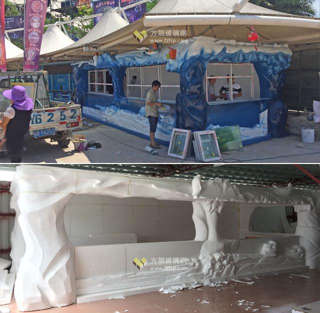 广东景区特色定制玻璃钢售卖亭现场施工及工厂制作图