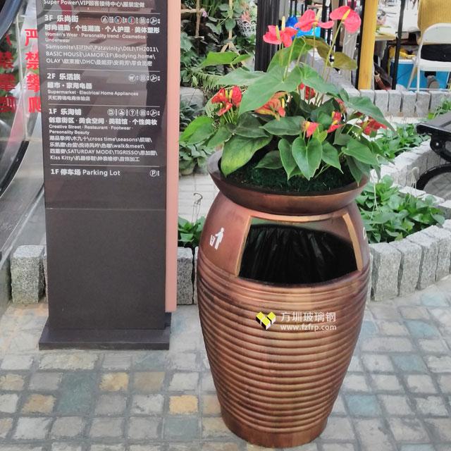 天虹商场玻璃钢花盆自带垃圾桶户外使用摆放图