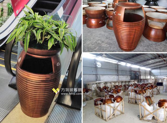 天虹商场玻璃钢花盆自带垃圾桶方圳工厂生产图