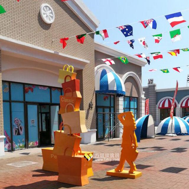 长春新华联开业庆典购物美女玻璃钢雕塑造型现场摆放图