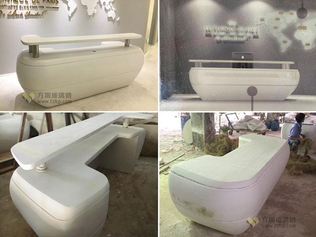 深圳企业装饰玻璃钢办公前台方圳工厂生产制作图
