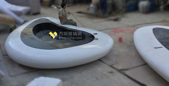 海南万达广场玻璃钢花盆座椅工厂制作图