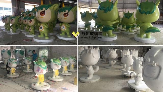 2017西安双创周玻璃钢独角兽卡通雕塑方圳生产流程图