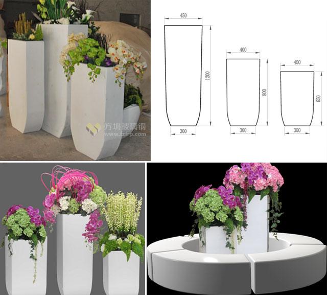 黄骅玻璃钢落地组合式花盆生产设计效果图
