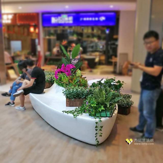 创意玻璃钢花盆休闲椅美陈装饰湖南长沙商业广场