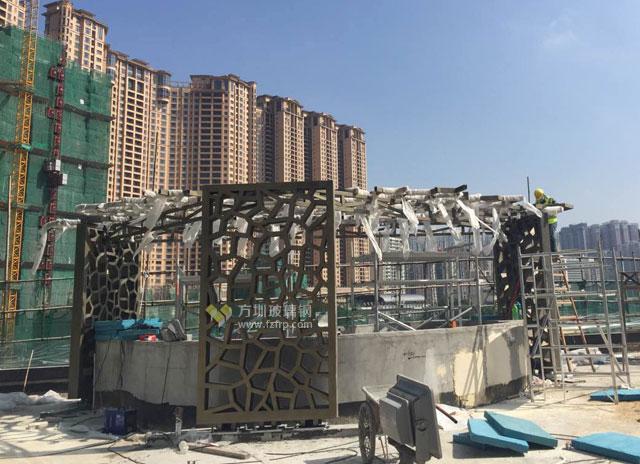澳门罗斯福酒店玻璃钢网格天花造型装饰现场施工图