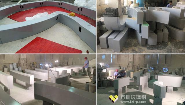 深圳花园城大型玻璃钢logo座椅方圳工厂制作图