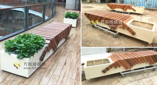 深圳商场定制创意玻璃钢休闲椅花盆工厂生产图