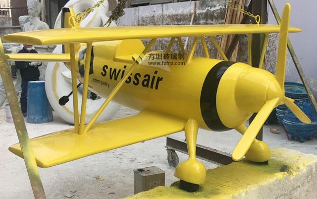 浙江温州企业特色定制玻璃钢飞机模型雕塑工厂成品展示