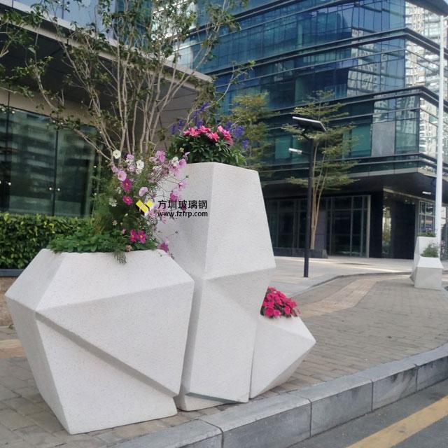 玻璃钢菱形花盆组合多边形花器景观绿化深南大道