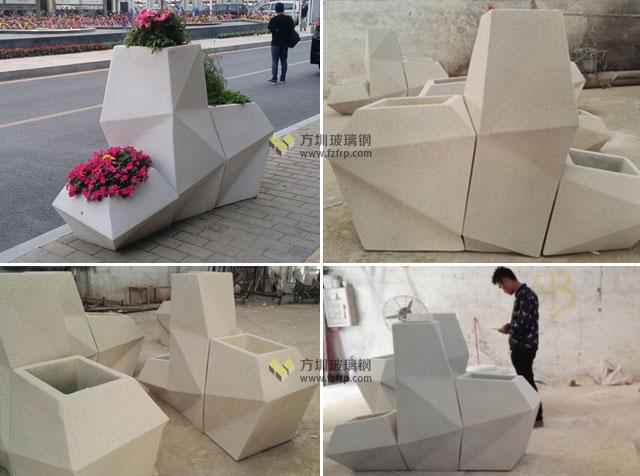 深南大道玻璃钢菱形花盆组合多边形花器方圳工厂生产图