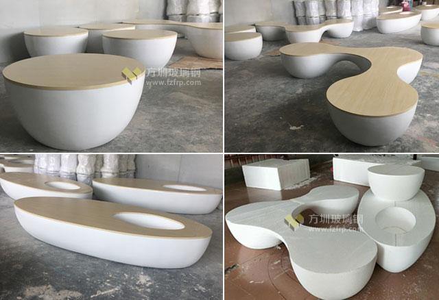 云南昆明沃尔玛玻璃钢实木休闲椅方圳工厂生产图