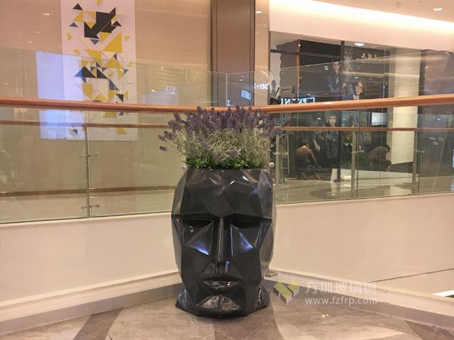玻璃钢人头造型花盆湖南商场景观绿化个性装饰