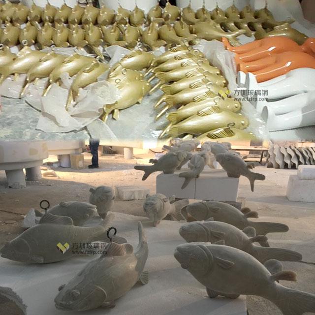 湖南岳阳步步高商场玻璃钢鲤鱼吊饰方圳工厂生产图