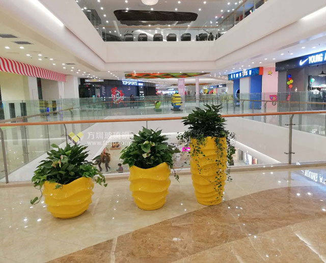 玻璃钢创意组合花盆装饰陕西宝鸡大型商场环境