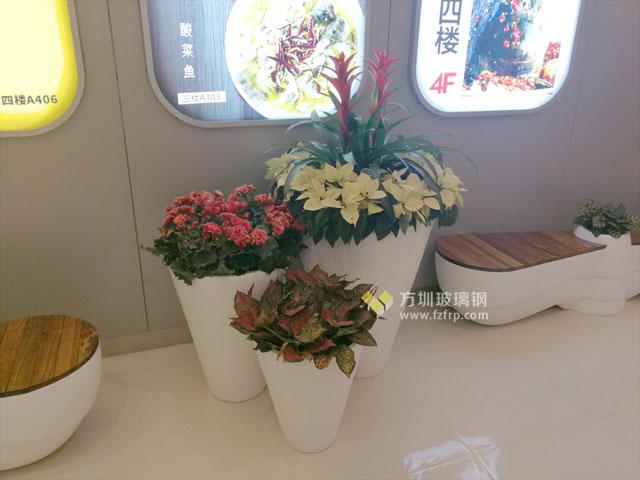 螺旋浆造型玻璃钢花盆座椅深圳海航城商业广场摆放图