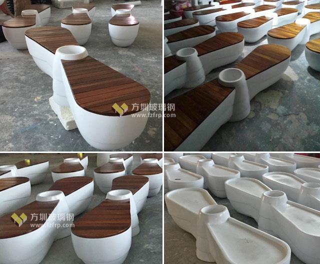 深圳海航城螺旋浆造型玻璃钢花盆座椅方圳工厂生产图