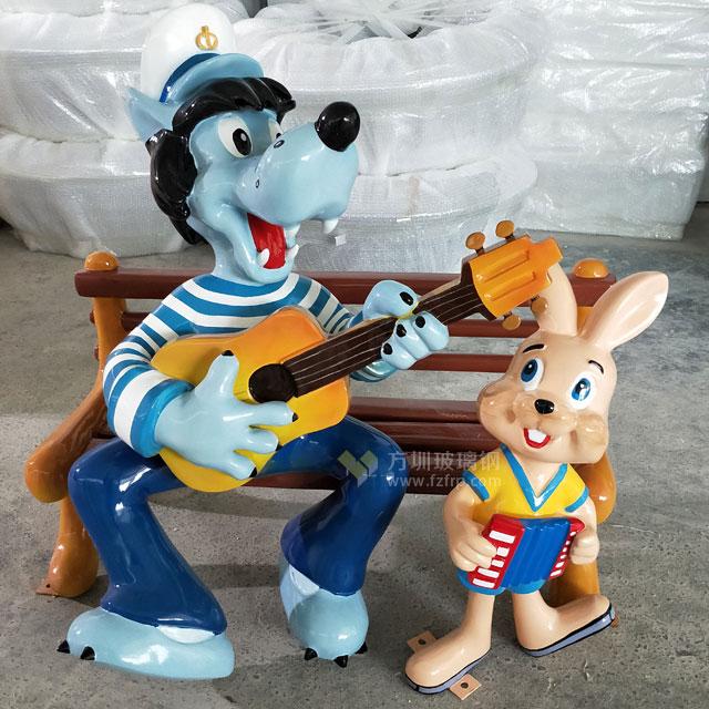 玻璃钢卡通吉他狗雕塑形象经典出口品质