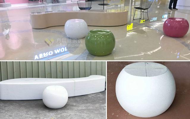 商场美陈装饰玻璃钢组合休息座椅工厂制作和送货图