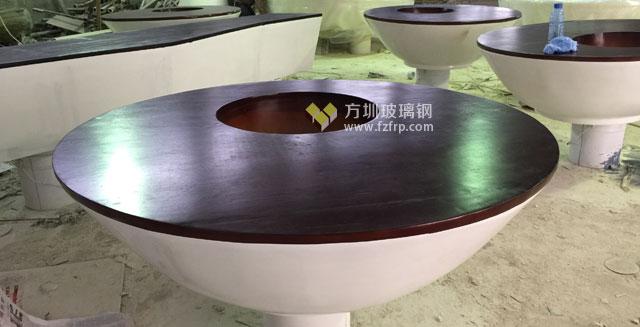 碗型玻璃钢休闲椅配景观绿植上海装饰企业定制