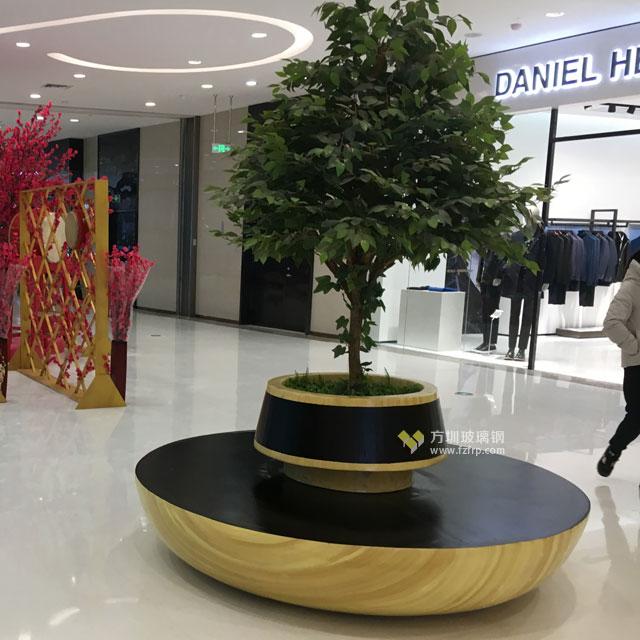 圆形玻璃钢靠背座椅带花槽上海企业装饰商场
