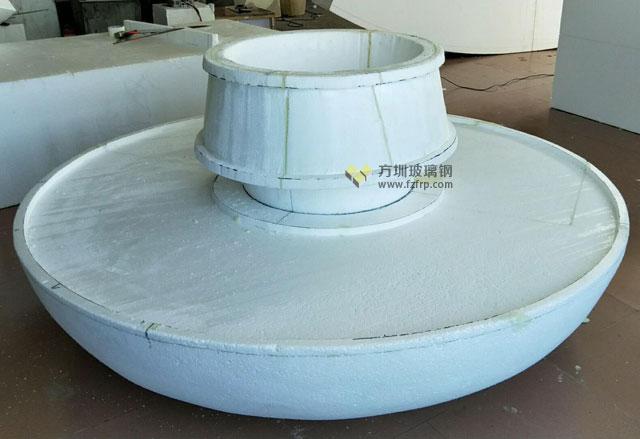 圆形玻璃钢靠背座椅带花槽方圳工厂生产图