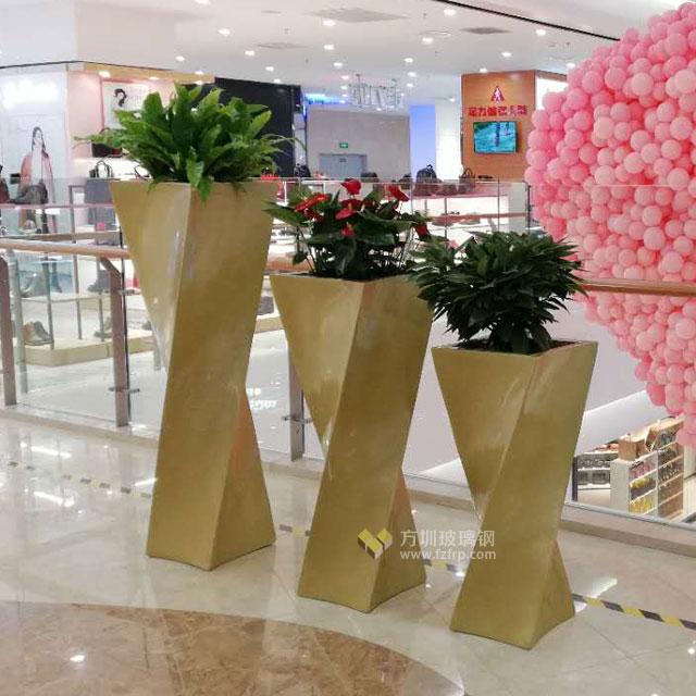 玻璃钢金色创意组合花瓶美化陕西购物中心