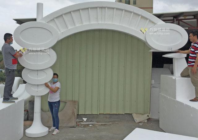 游乐园玻璃钢门头内置灯带装饰造型工厂模型雕刻图