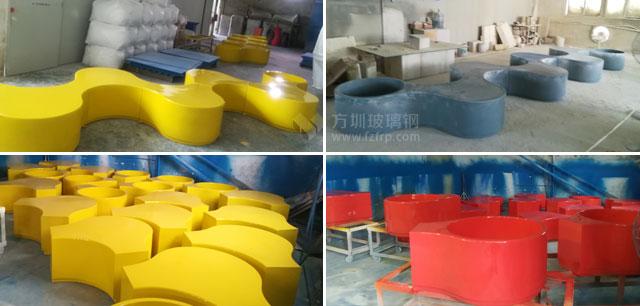 深圳小区玻璃钢组合座椅方圳工厂生产图